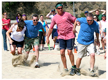 Three legged race team building